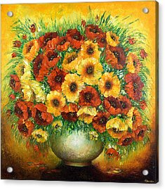 Poppies. Acrylic Print by Evgenia Davidov