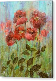 Poppies In Pastel Watercolour Acrylic Print