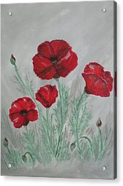 Poppies In The Mist Acrylic Print by Sharyn Winters