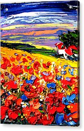 Poppies In The Spring Time.  Acrylic Print by Maya Green
