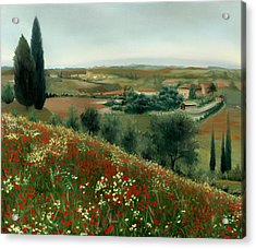 Poppies In Tuscany Acrylic Print by Leah Wiedemer