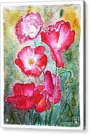 Acrylic Print featuring the painting Poppies by Jasna Dragun