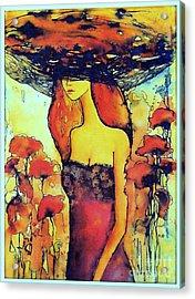Poppies Lady Acrylic Print