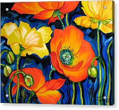 Poppies Acrylic Print by Marcia Baldwin