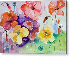 Poppies Of Color Acrylic Print by Delilah  Smith