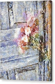 Poppies On Weathered Door Acrylic Print by Shirley Stalter