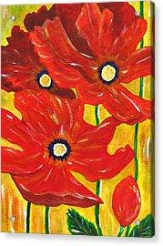 Poppies Painting  Acrylic Print by Linda Larson
