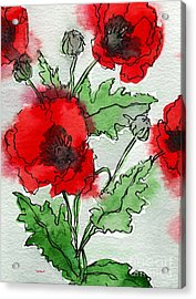 Watercolor Poppies Acrylic Print
