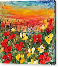 Poppies Acrylic Print by Teresa Wegrzyn
