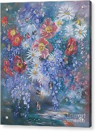 Poppies, Wisteria And Marguerites Acrylic Print