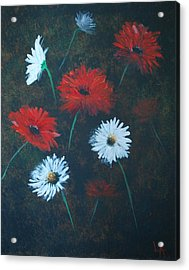 Acrylic Print featuring the painting Poppin Daisies by Leslie Allen