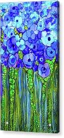 Acrylic Print featuring the mixed media Poppy Bloomies 2 - Blue by Carol Cavalaris