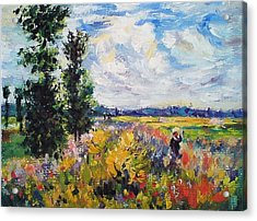 Poppy Field At Argenteuil Acrylic Print by Peter Kupcik