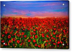 Acrylic Print featuring the painting Poppy Field by Evelina Popilian