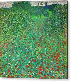 Poppy Field Acrylic Print by Gustav Klimt