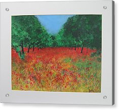Poppy Field In Ibiza Acrylic Print by Lizzy Forrester
