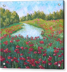 Poppy Field With Lake South Of France Acrylic Print