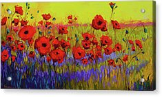 Poppy Flower Field Oil Painting With Palette Knife Acrylic Print