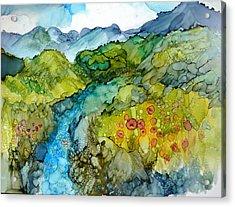 Poppy Mountains Acrylic Print by P Maure Bausch