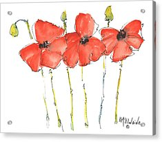 Red Poppy Play Acrylic Print