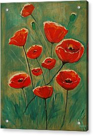 Acrylic Print featuring the painting Poppy Surprise by Leslie Allen