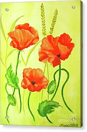 Acrylic Print featuring the painting Poppy Trio by Inese Poga