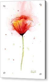 Poppy Watercolor Red Abstract Flower Acrylic Print