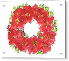 Poppy Wreath Acrylic Print