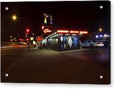 Popular Chicago Hot Dog Stand Night Acrylic Print by Sven Brogren