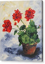 Porch Geraniums Acrylic Print by Torrie Smiley