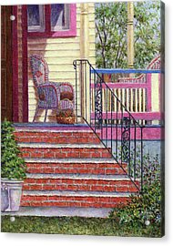 Porch With Basket Acrylic Print by Susan Savad
