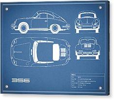 Porsche 356 C Blueprint Acrylic Print by Mark Rogan