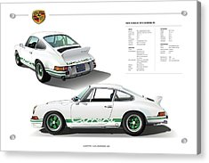 Porsche 911 Carrera Rs Illustration Acrylic Print