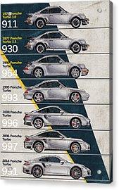 Porsche 911 Turbo Timeline  Acrylic Print by Yurdaer Bes
