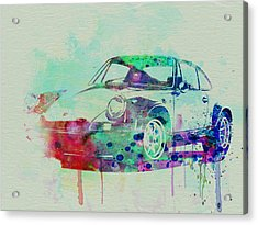 Porsche 911 Watercolor 2 Acrylic Print by Naxart Studio