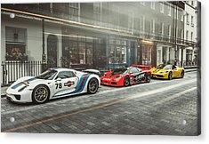 Porsche 918 Mclaren F1 Gtr And Ferrari 458 Specialea Acrylic Print