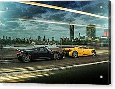 Porsche 918 Spyder And Pagani Huayra Acrylic Print