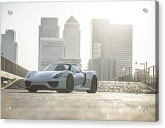 Porsche 918 Spyder Canary Wharf Acrylic Print