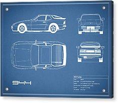 Porsche 944 Blueprint Acrylic Print by Mark Rogan