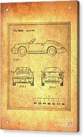 Porsche Blueprint Acrylic Print by Steven Parker