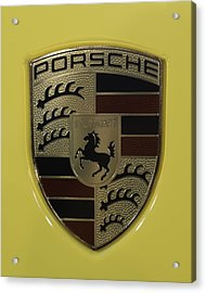 Porsche Emblem On Racing Yellow Acrylic Print