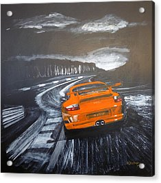 Acrylic Print featuring the painting Porsche Gt3 @ Le Mans #3 by Richard Le Page
