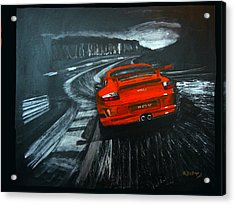 Acrylic Print featuring the painting Porsche Gt3 Le Mans by Richard Le Page