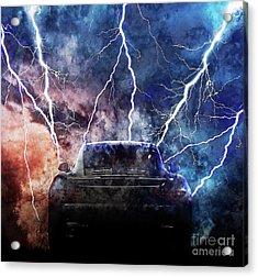 Porsche Lightning Storm Acrylic Print by Jon Neidert