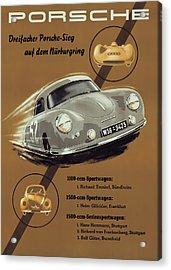 Porsche Nurburgring 1950s Vintage Poster Acrylic Print by Georgia Fowler