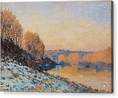 Port Marly White Frost Acrylic Print by Alfred Sisley