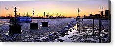 Acrylic Print featuring the photograph Port Of Hamburg Winter Sunset by Marc Huebner