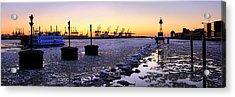 Port Of Hamburg Winter Sunset Acrylic Print by Marc Huebner
