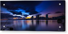 Port Of Spain New Sky Line  Acrylic Print by Marcus Gonzales
