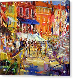 Port Promenade Saint-tropez Acrylic Print by Peter Graham